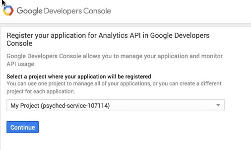 Google Development Console - Analytics
